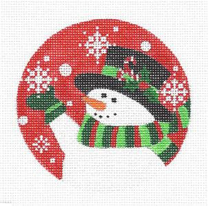 "Round~Candy Cane Snowman"" handpainted Needlepoint Ornament Canvas ~ Pepperberry"
