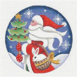 Round ~ Santa & Bunny in Basket Ornament handpainted Needlepoint Canvas by Rebecca Wood