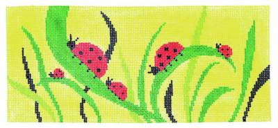 "Canvas Insert~Ladybugs on Yellow handpainted Needlepoint Canvas ~ BR Insert ~ 8.25"" by 4"""