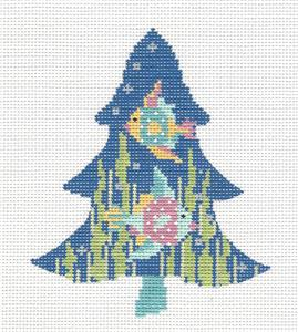 Kelly Clark Tree- FRILLY FISH, CRYSTALS & STITCH GUIDE handpainted Needlepoint Canvas