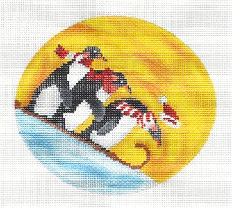 "Oval -""Penguins Sledding"" Handpainted Needlepoint Oval Ornament by Scott Church"