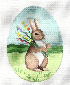 Egg~ Bunny with a Bouquet Egg handpainted Needlepoint Canvas Susan Roberts