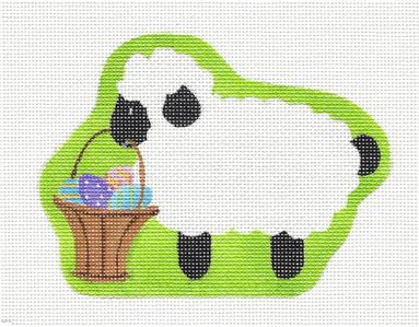 Canvas- Adorable Lamb with an Easter Basket HP Needlepoint Ornament by Pepperberry