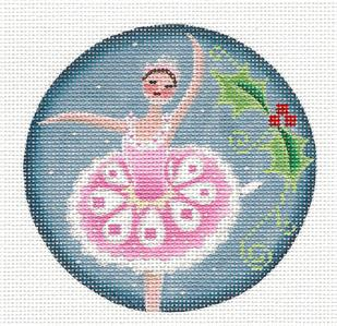 Round ~ Sugar Plum Fairy Ballerina Ornament handpainted Needlepoint Canvas Rebecca Wood~MAY NEED TO BE SPECIAL ORDERED