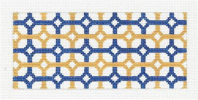 "Canvas Insert~ Blue and Golden Design handpainted ""BB"" Needlepoint Canvas by SOS from LEE"