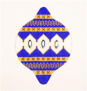 Blue & Gold Ornament with Gems handpainted Needlepoint Canvas by TeriSu Designs