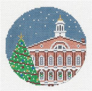 "Round~4"" FANEUIL HALL, BOSTON, MA. Christmas Tree HP Needlepoint Canvas Needle Crossings"