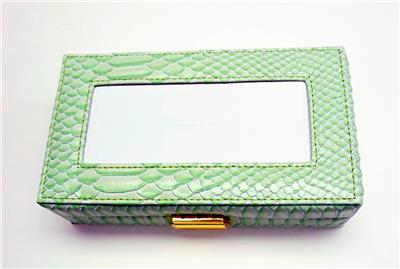 Accessory~LEE Lt. Green Leather Jewelry Box with Interior Compartments for Needlepoint Canvas