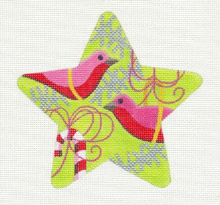 Star~Starbirds Star Painted Needlepoint Ornament & STITCH GUIDE by Raymond Crawford