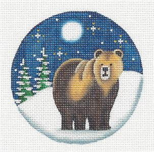 Round ~Grizzly Bear in Moonlight Ornament handpainted Needlepoint Canvas Rebecca Wood