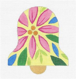 Bell~ Pink Poinsettia Bell Ornament HP Needlepoint Canvas by Raymond Crawford