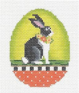 Kelly Clark - Easter Bunny with Wreath Egg handpainted Needlepoint Canvas by Kelly Clark