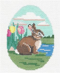 Egg~ Bunny Sitting in Tulips Egg handpainted Needlepoint Canvas Susan Roberts