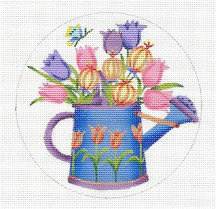 Debbie Mumm Tulips in a Watering Can HP Needlepoint Canvas ~ M. Shirley