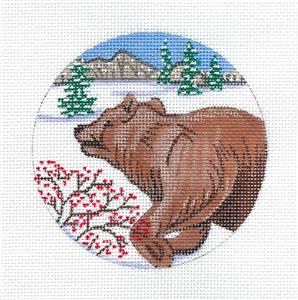Animal Canvas ~ Grizzly Bear in the Winter handpainted 18 mesh Needlepoint Canvas Alice Peterson