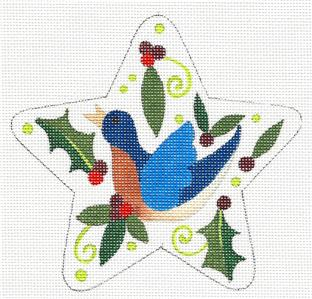 "Star~ 12 Days ""4 CALLING BIRDS"" Star HP Needlepoint Canvas by Raymond Crawford"