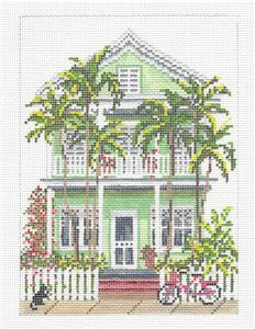 Canvas House~Key West Island House handpainted Needlepoint Canvas by Needle Crossings