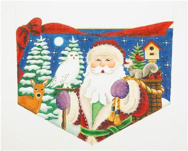 Stocking Cuff ~ Forest Santa CUFF for Stocking handpainted Needlepoint Canvas Rebecca Wood