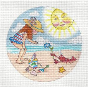 "Round~6"" Little Girl on Beach handpainted Needlepoint Canvas ~ M.Engelbreit ~ Painted Pony"