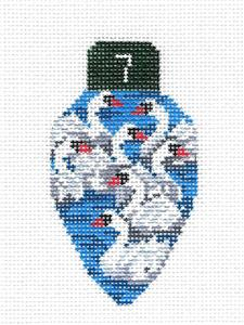 7 Swans Swimming Lightbulb handpainted Needlepoint Canvas Edie & Ginger from CBK