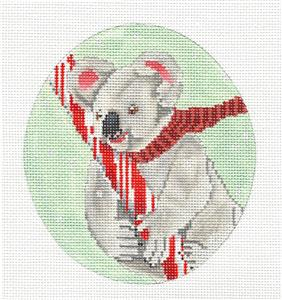 Oval- Candy Cane Koala in Scarf Handpainted Needlepoint Canvas by Scott Church