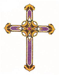 "Cross ~Elegant 7"" tall Purple & Gold CROSS handpainted Needlepoint Canvas by LEE"