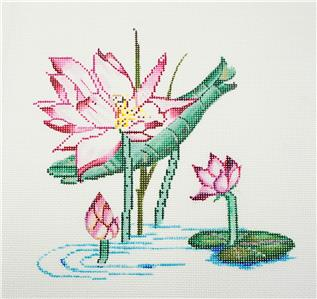 "Canvas~Sophia Designs ""Lotus Blossoms in Pond"" handpainted Needlepoint Canvas 13 mesh"