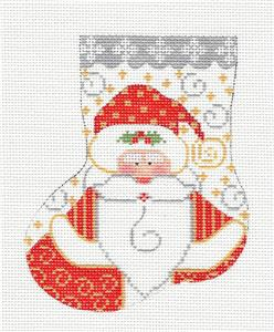 Mini Stocking- Santa Mini Sock & STITCH GUIDE HP Needlepoint Canvas by CH Designs -Danji