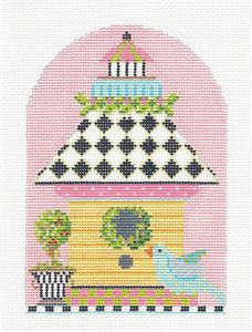 Kelly Clark - Birdhouse Harlequin Roof handpainted Needlepoint Canvas by Kelly Clark