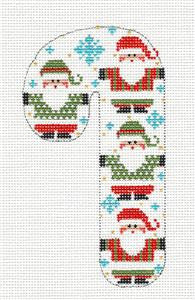 Medium Candy Cane 4 Santas handpainted Needlepoint Canvas CH Designs - Danji ***SPECIAL ORDER***