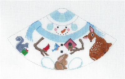 Cone~Snowman and Woodland Animals 3-D Cone Needlepoint Ornament Canvas Susan Roberts