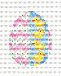 Easter Egg~Easter Egg Baby Ducks handpainted Needlepoint Canvas Ornament by Assoc. Talents