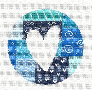 Round~White Heart in Blue Patchwork HP Needlepoint Canvas by Starke Art from CBK