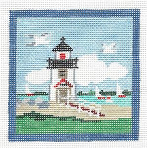 Canvas~Brant Point Light, Nantucket handpainted Needlepoint Canvas~by Kathy Schenkel ***SP.ORDER***