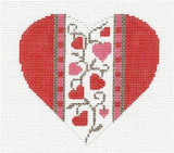Heart~Heart of Hearts handpainted Needlepoint Canvas & STITCH GUIDE by Amanda Lawford