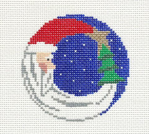 Treglown Designs Crescent Moon Santa Claus handpainted HP Needlepoint Canvas 13m