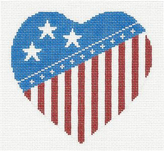 Canvas~Patriotic Red, White & Blue Heart handpainted Needlepoint Canvas by Silver Needle