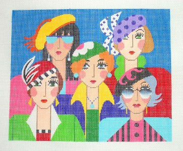 Canvas~FIVE FRIENDS Contemporary handpainted Needlepoint Canvas 18 mesh by LEE