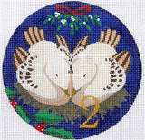 12 Days of Christmas 2 Doves with STITCH GUIDE & HP Needlepoint canvas Juliemar