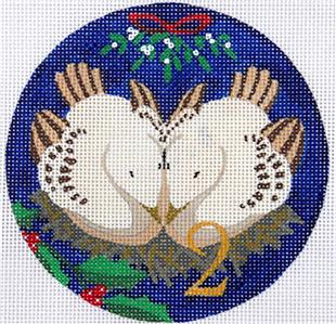12 Days of Christmas 2 Turtle Doves with STITCH GUIDE & HP Needlepoint canvas Juliemar