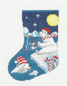Christmas Mini Stocking ~ Polar Bears Fishing with Penguins handpainted Needlepoint Mini Stocking Ornament by Scott Church