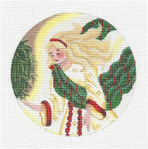 Round ~ Guardian Angel Ornament handpainted Needlepoint Canvas by Rebecca Wood~MAY NEED TO BE SPECIAL ORDERED