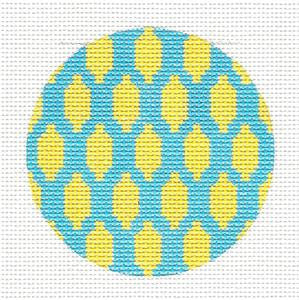 Round~Lemons On Teal Design Rd. handpainted Needlepoint Canvas by SOS from LEE