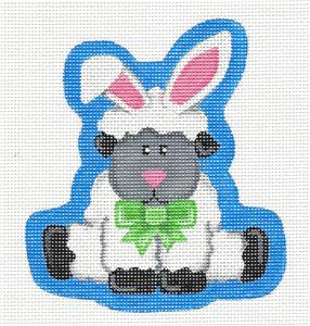 Canvas- Adorable Lamb Easter Bunny handpainted Needlepoint Ornament by Pepperberry