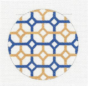 Round~Navy & Golden Diamonds Rd. handpainted Needlepoint Canvas by SOS from LEE