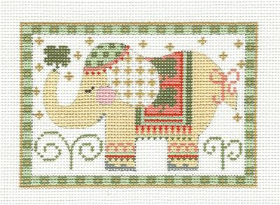 Canvas- Elephant Rectangle in Yellow HP Needlepoint Canvas CH Designs from Danji