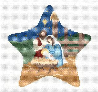 Christmas~Star Nativity Ornament handpainted Needlepoint Canvas by Susan Roberts