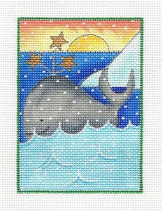 Square ~ Artic Christmas Whale handpainted Needlepoint Canvas Renaissance Design