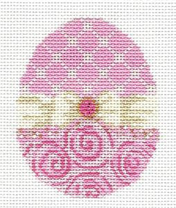 Kelly Clark - Easter Ribbon Egg HP Needlepoint Canvas & Stitch Guide