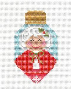 Bulb- Mrs. Claus Lightbulb handpainted Needlepoint Canvas CH Designs ~ Danji